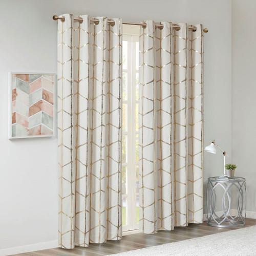 Ivory & Gold Geometric Metallic Silver BLACKOUT Window Panel (Raina-Ivory/Gold-window)