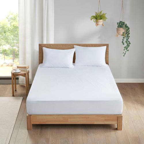 White Allergen Barrier Anti-Microbial Waterproof Mattress & Pillow Protector Set (Allergen Barrier-White-Protector Set)