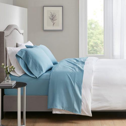 4pc Blue 700 Thread Count Anti-Microbial Tri-Blend Sateen Weave Sheet Set (700TC TriBlend-Blue-Sheets)