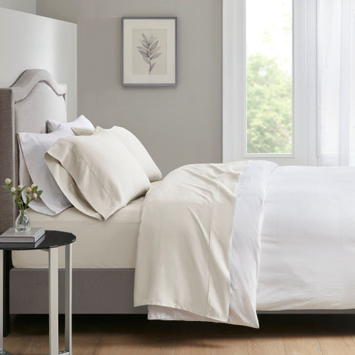 4pc Ivory 700 Thread Count Anti-Microbial Tri-Blend Sateen Weave Sheet Set (700TC TriBlend-Ivory-Sheets)