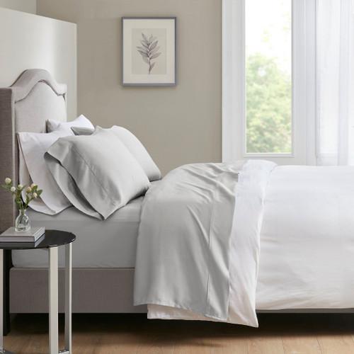 4pc Light Grey 700 Thread Count Anti-Microbial Tri-Blend Sateen Weave Sheet Set (700TC TriBlend-Light Grey-Sheets)