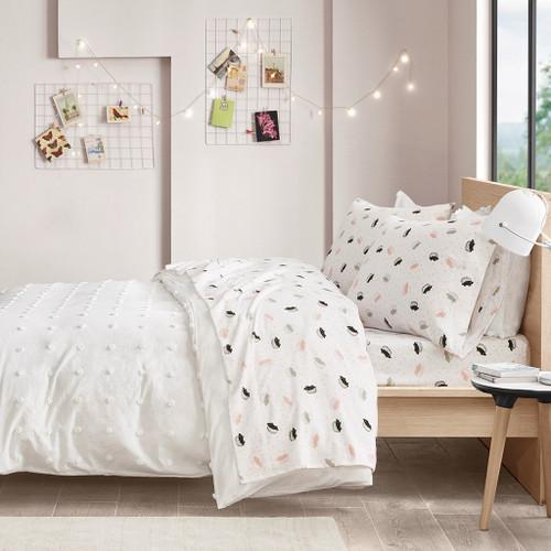 Pink & Grey Hedgehogs Design Novelty Flannel Sheet Set (Cozy Soft-Pink Hedgehogs-Sheets)