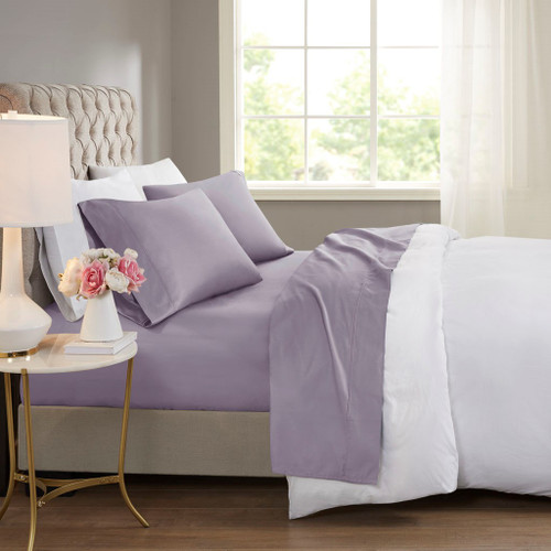 4pc Purple 600 Thread Count Cooling Treated Cotton Rich Sheet Set (600TC-Purple-Sheets)