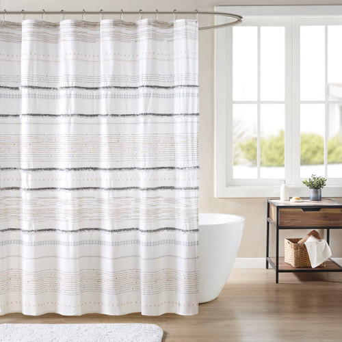 "Multi Color Cotton Printed Shower Curtain w/Trims - 72x72"" (086569389053)"