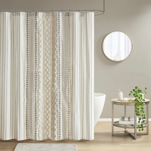 """Ivory Cotton Printed Shower Curtain with Chenille Stripe - 72x72"""" (086569389060)"""