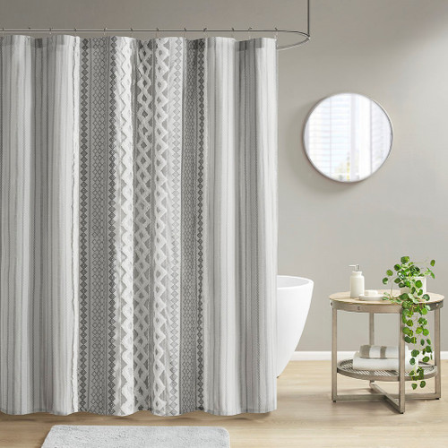"""Grey Cotton Printed Shower Curtain with Chenille Stripe - 72x72"""" (086569393562)"""