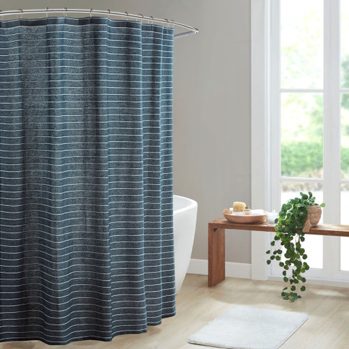 """Navy Texture Striped 100% Recycled Fiber Antimicrobial Shower Curtain - 72x72"""" (086569486271)"""