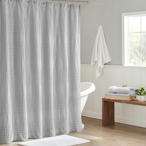 """Grey Large Waffle Textured Cotton Solid Shower Curtain - 72x72"""" (086569303417)"""