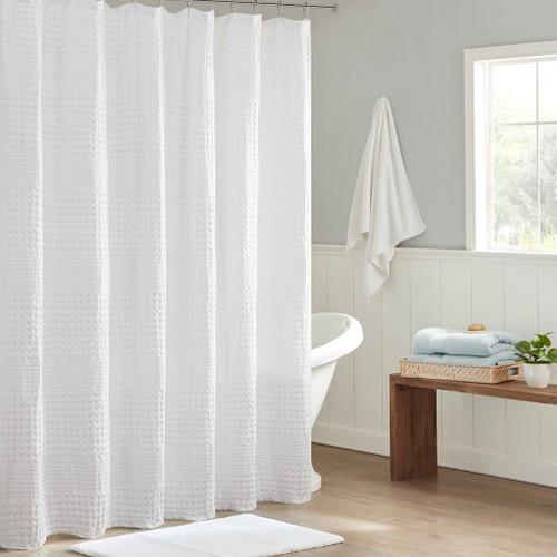 "Stylish White Large Waffle Textured Cotton Solid Shower Curtain - 72x72"" (086569303424)"