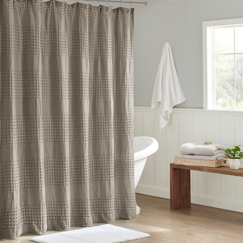 """Stylish Taupe Large Waffle Textured Cotton Solid Shower Curtain - 72x72"""" (086569303431)"""