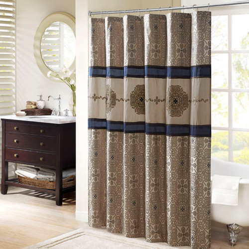 """Stylish Navy Embroidered Shower Curtain - 72x72"""" (086569604675)"""