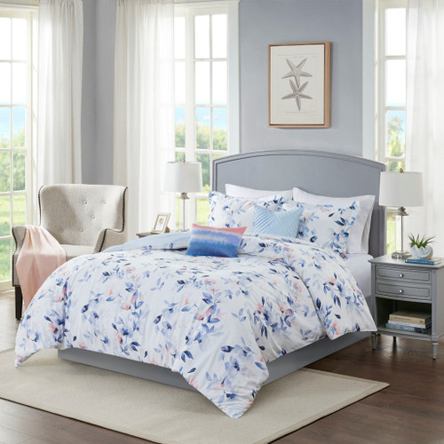 5pc White Blue & Pink Floral Comforter Set AND Decorative Pillows (Betsy-White-Comf)