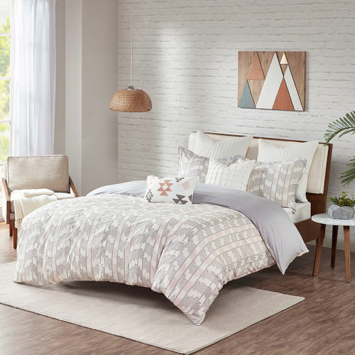 3pc Grey & Blush Pink Reversible Cotton Comforter AND Decorative Shams (Suri-Grey/Blush-Comf)