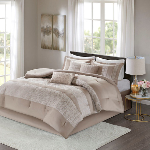 7pc Taupe Chenille Jacquard Textured Comforter Set AND Decorative Pillows (Ava-Taupe-Comf)