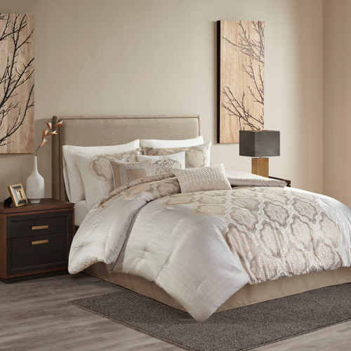 7pc Ivory & Taupe Jacquard Comforter Set AND 3 Decorative Pillows (Mariella-Ivory-comf)
