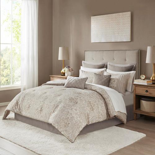 12pc Khaki Brown Damask Comforter Set AND Matching Sheet Set (Emilia-Khaki-Comf)
