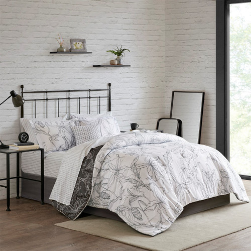 White & Charcoal Grey Floral/Striped Comforter Set AND Matching Sheet Set (Lilia-White/Charcoal)