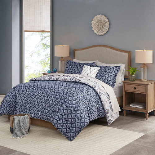 Navy & White Reversible Medallions Comforter Set AND Matching Sheets (Titus-Navy-comf)
