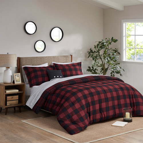 Red & Black Plaid Reversible Comforter Set AND Matching Sheet Set (Everest-Red Plaid-Comf