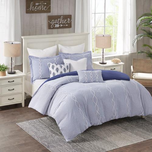 8pc Blue & White Coastal Comforter Set AND Decorative Pillows (Coastal Farmhouse-Blue-Comf)