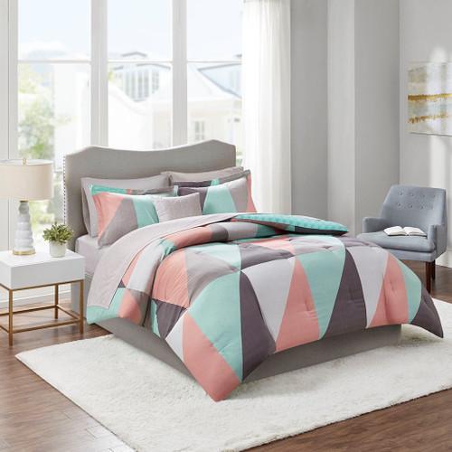 Aqua White & Grey Reversible Comforter Set AND Matching Sheet Set (Remy-Aqua-comf)