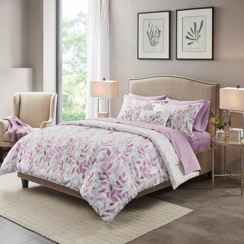 Purple Botanical Print Reversible Comforter Set AND Matching Sheet Set (Sofia-Purple-comf)