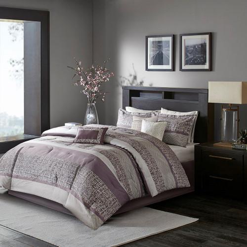 7pc Purple & Grey Woven Jacquard Comforter Set AND Decorative Pillows (Rhapsody-Purple)
