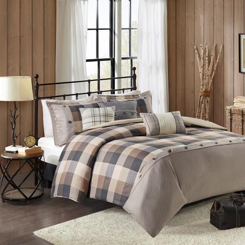 6pc Neutral Brown & Ivory Buffalo Plaid Duvet Cover Set AND Decorative Pillows (Ridge-Neutral-Duv)