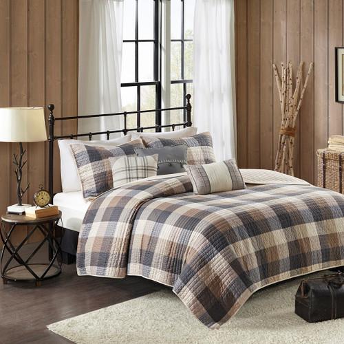 6pc Neutral Brown & Ivory Buffalo Plaid Coverlet Quilt Set AND Decorative Pillows (Ridge-Neutral-cov)