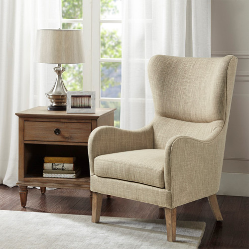 Taupe Swoop Wing Chair Solid Wood & Plywood Frame (086569358813