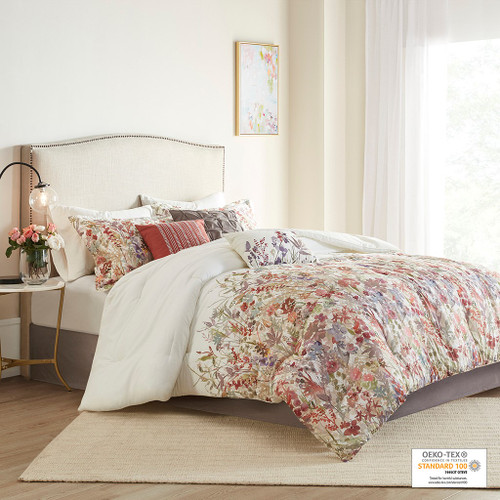 7pc Watercolor Floral Print Comforter Set AND 3 Decorative Pillows (Mariana-Multi-comf)