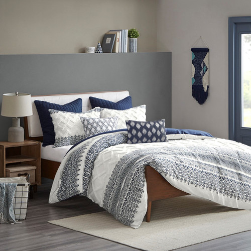 3pc Navy Blue Botanical Textured Cotton Comforter AND Decorative Shams (Mila-Blue-Comf)