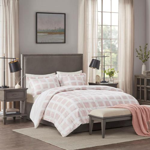 Blush Pink & White Cozy Plush Reversible Comforter Set AND Decorative Shams (Mae-Blush-Comf)