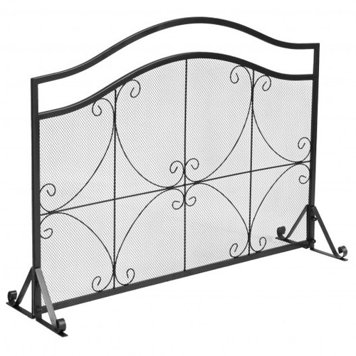 Single Panel Fireplace Screen Free Standing Spark Guard Fence