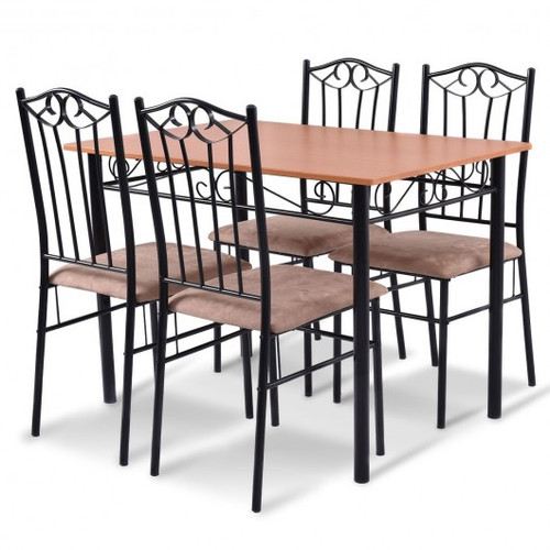5pc Dining Set Wooden Table & 4 Cushioned Chairs