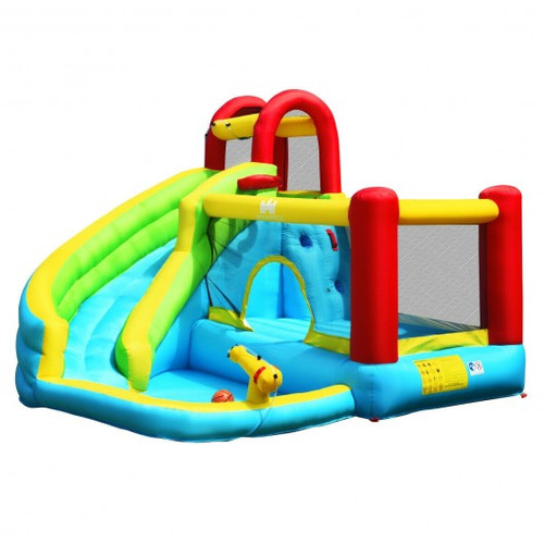 6 in 1 Inflatable Bounce House w/Climbing Wall & Basketball Hoop