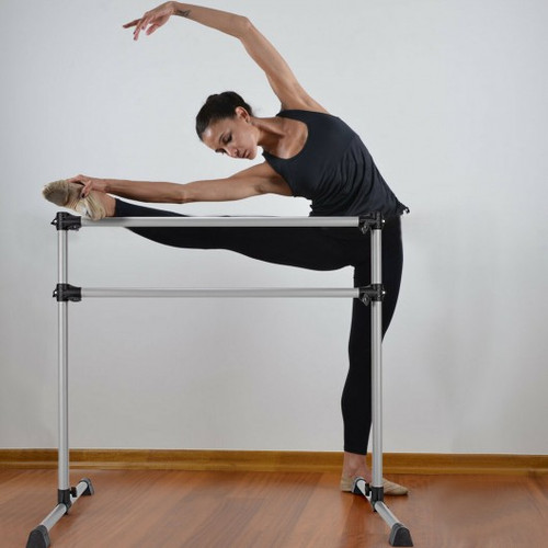 4 ' Portable Double Freestanding Ballet Barre Dancing Stretching Black-Silver