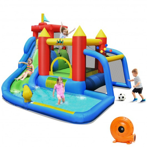 Inflatable Bounce House Splash Pool w/Water Climb Slide Blower included