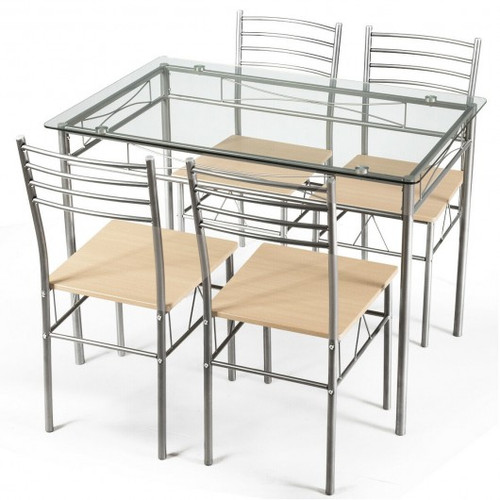 5pc Dining Set Glass Table & 4 Chairs