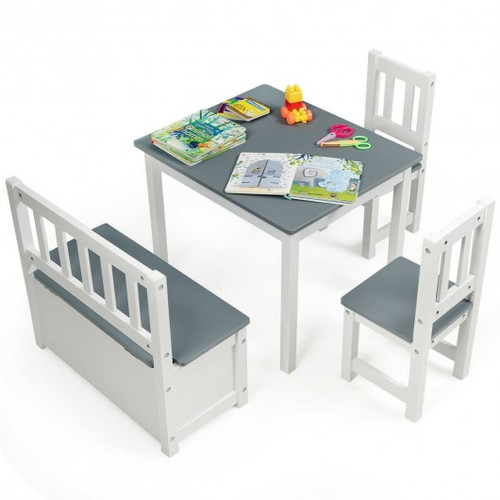 4pc Children Wood Table Chairs Set -Gray