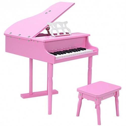 Musical Instrument Toy 30-Key Children Mini Grand Piano w/Bench-Pink