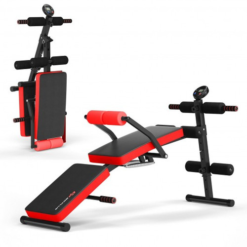 Multi-Functional Foldable Weight Bench Adjustable Sit-up Board w/Monitor-Red