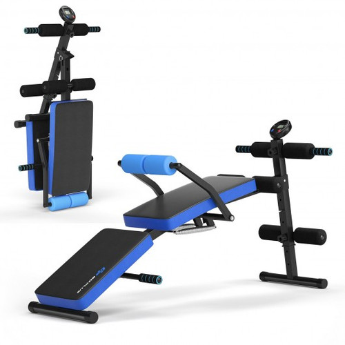 Multi-Functional Foldable Weight Bench Adjustable Sit-up Board w/Monitor-Blue