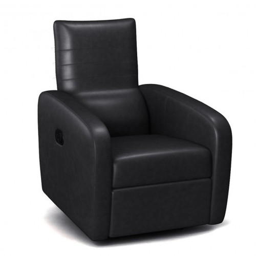 Contemporary Foldable-Back Leather Manual Recliner Sofa Chair-Black