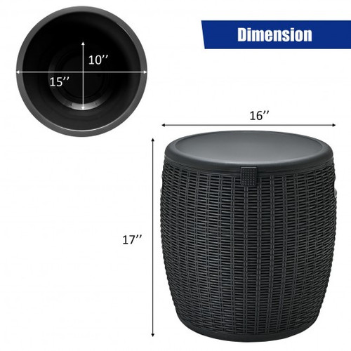12 Gallon 4-in-1 Patio Rattan Cool Bar Cocktail Table Side Table -Black