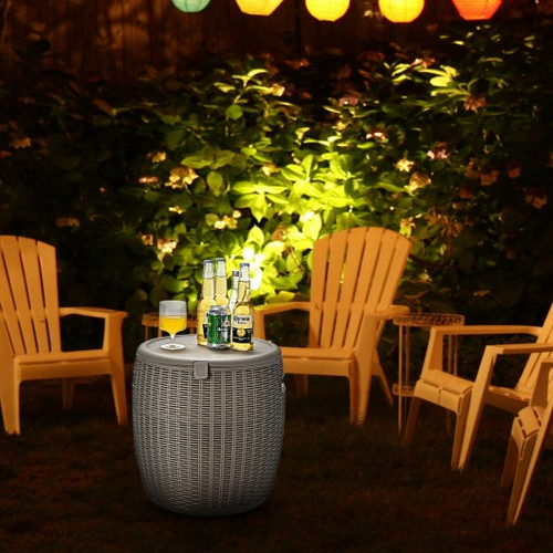 12 Gallon 4-in-1 Patio Rattan Cool Bar Cocktail Table Side Table -Brown