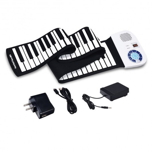 88 Keys Midi Electronic Roll up Piano Silicone Keyboard for Beginners-White