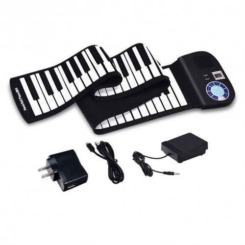 88 Keys Midi Electronic Roll up Piano Silicone Keyboard for Beginners-Black