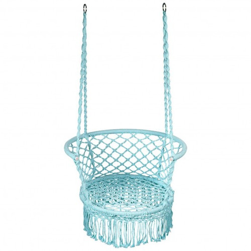 Hanging Hammock Chair Macrame Swing Hand Woven Cotton Backrest-Turquoise
