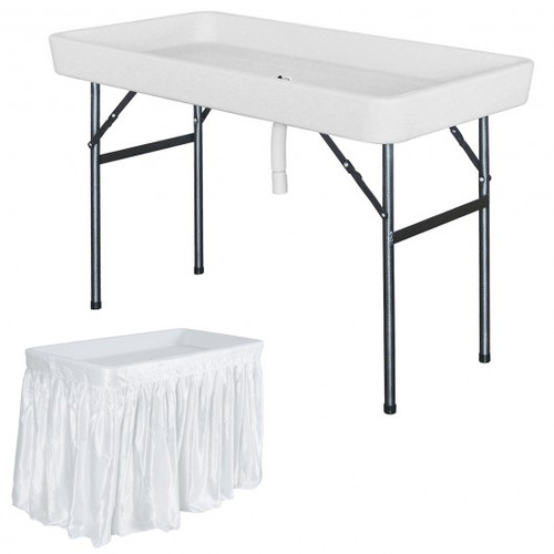 4 Foot Plastic Party Ice Folding Table w/Matching Skirt